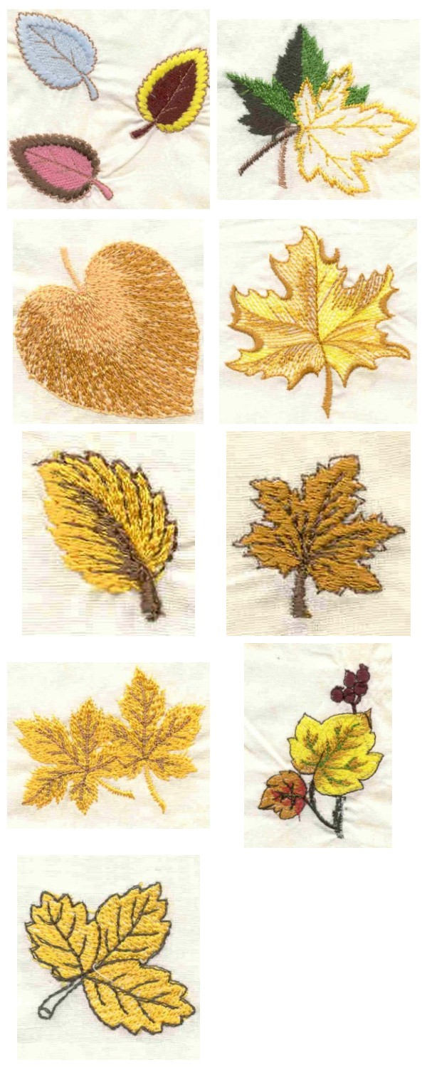 Machine embroidery designs openwork fall leaves set