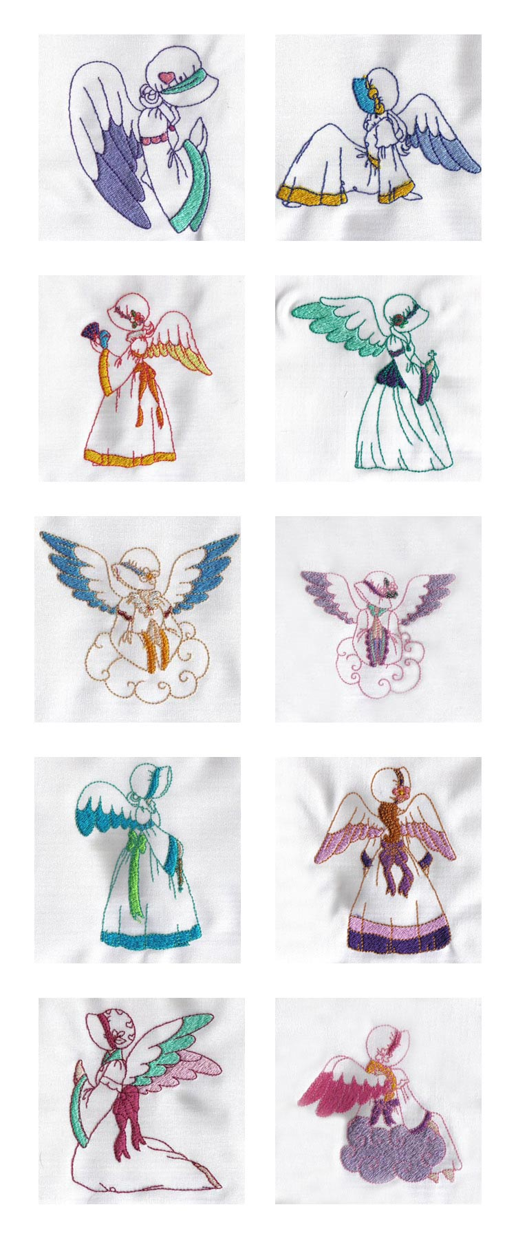 Partially Filled Angels Embroidery Machine Design Details