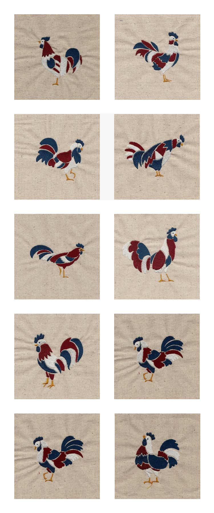 Patriotic Roosters Embroidery Machine Design Details