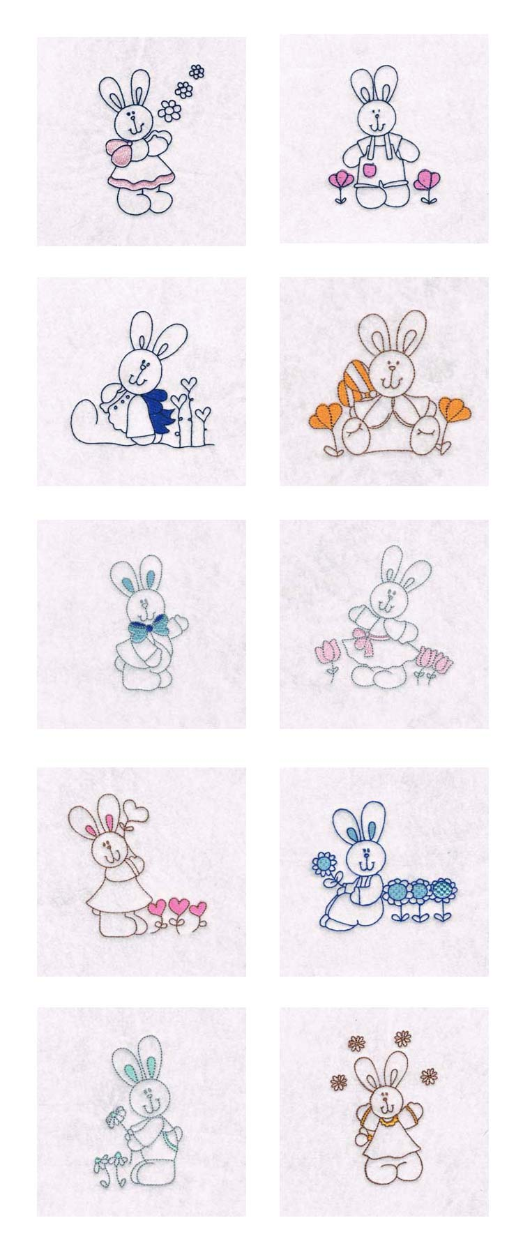 Partially Filled Bunnies Embroidery Machine Design Details