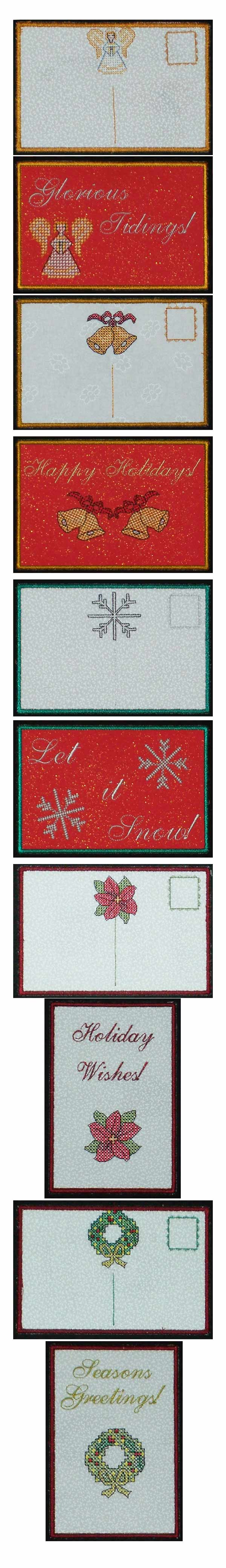 Holiday Post Cards Embroidery Machine Design Details