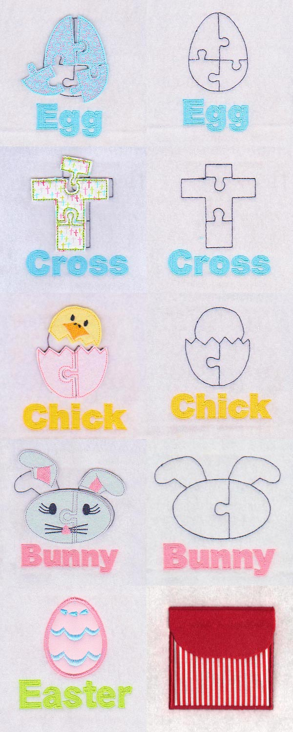 Puzzle Page Easter Embroidery Machine Design Details