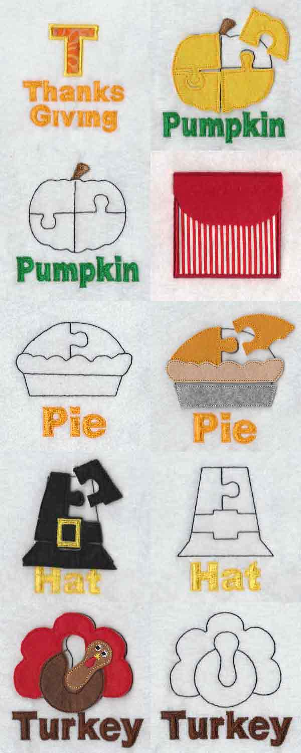 Puzzle Page Thanksgiving Embroidery Machine Design Details