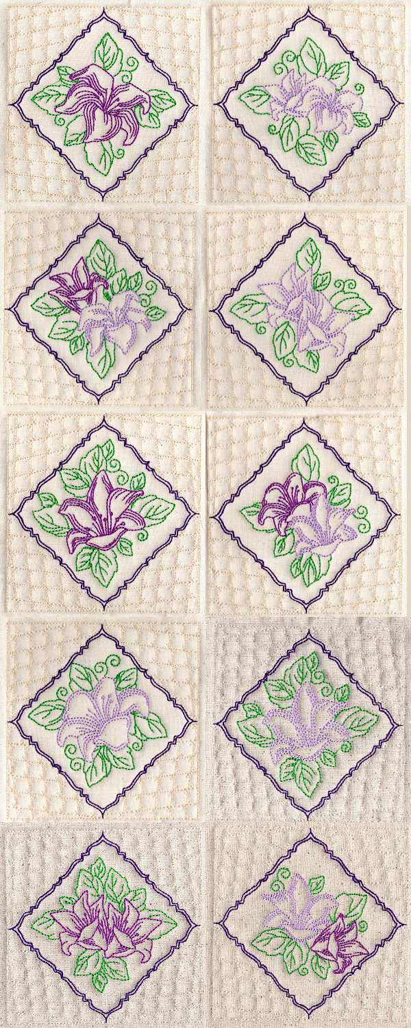 Rhombus Quilt Blocks Embroidery Machine Design Details