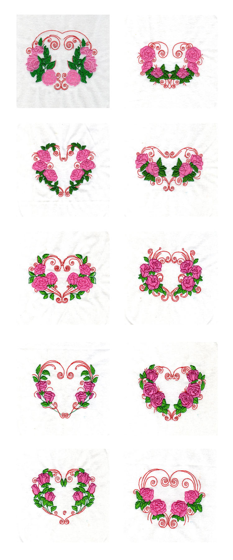 Rose Hearts Embroidery Machine Design Details