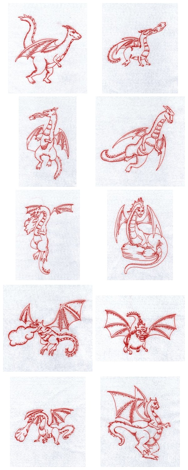 RW Dragons Embroidery Machine Design Details