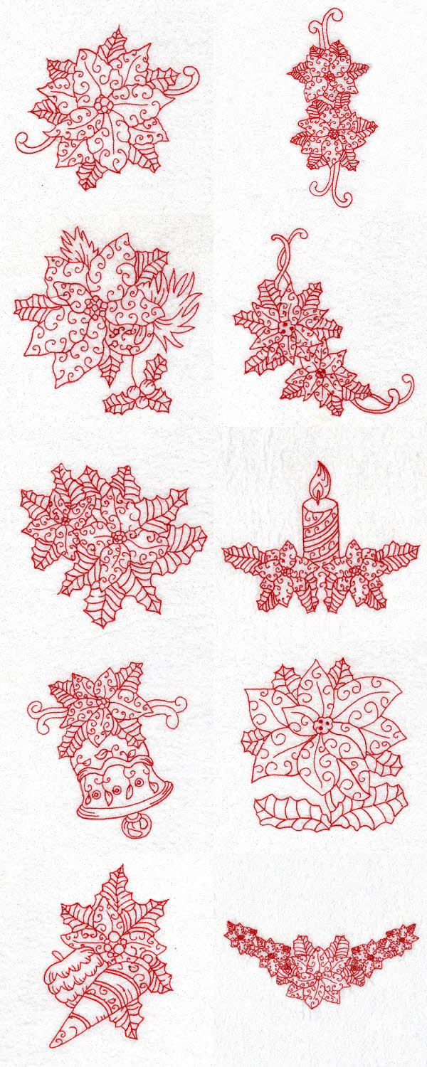 Redwork Poinsettias Embroidery Machine Design Details