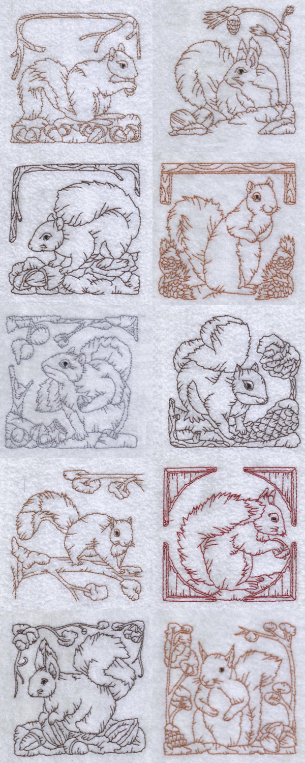 Redwork Squirrels Embroidery Machine Design Details