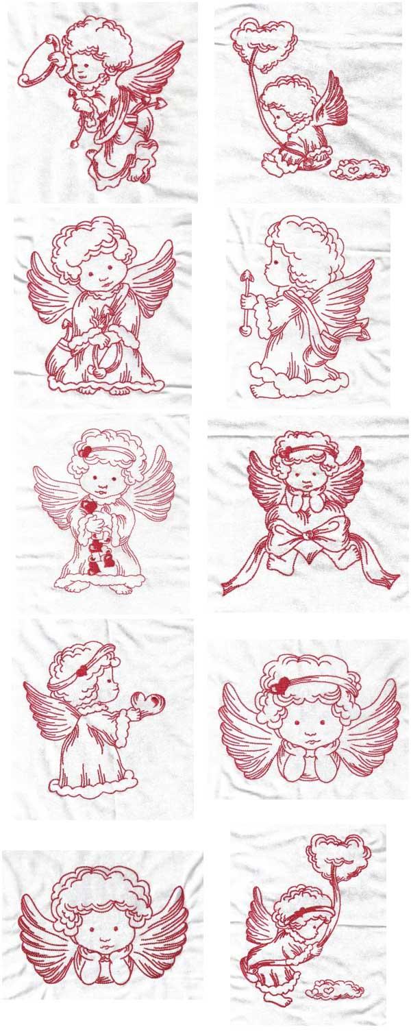 Machine embroidery designs valentine angels set
