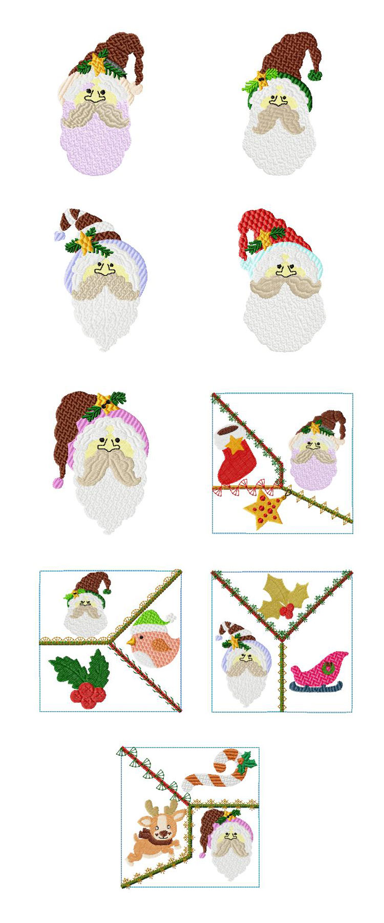 Santa Heads Embroidery Machine Design Details