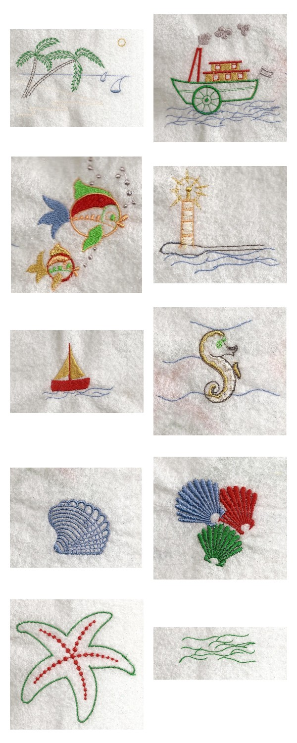 Seaside Fun Embroidery Machine Design Details