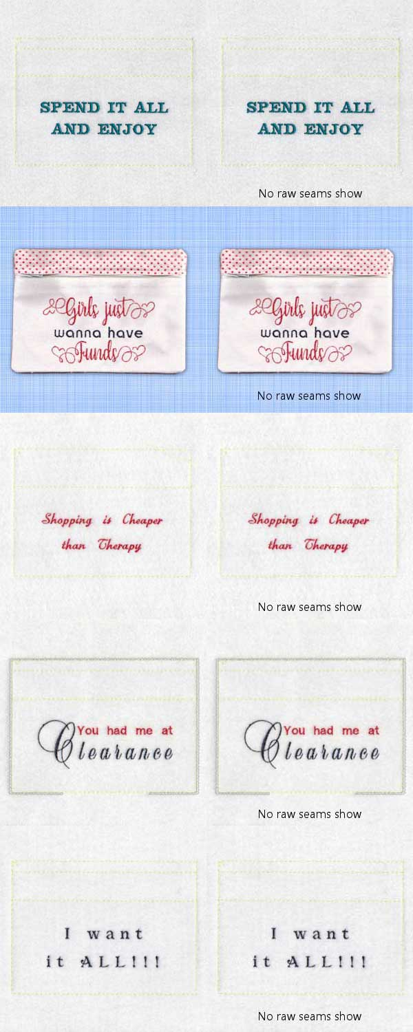 Shopping Money Purses Embroidery Machine Design Details