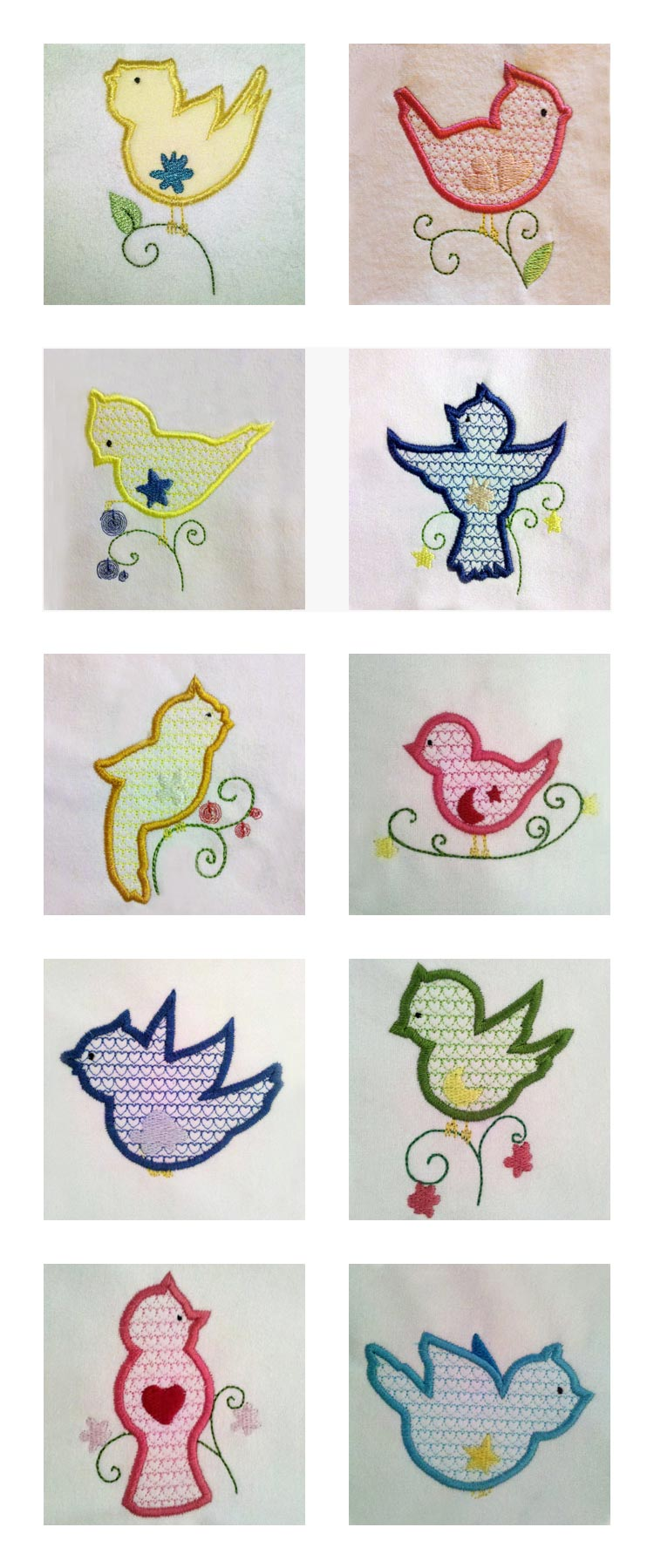Machine embroidery designs simple birds set
