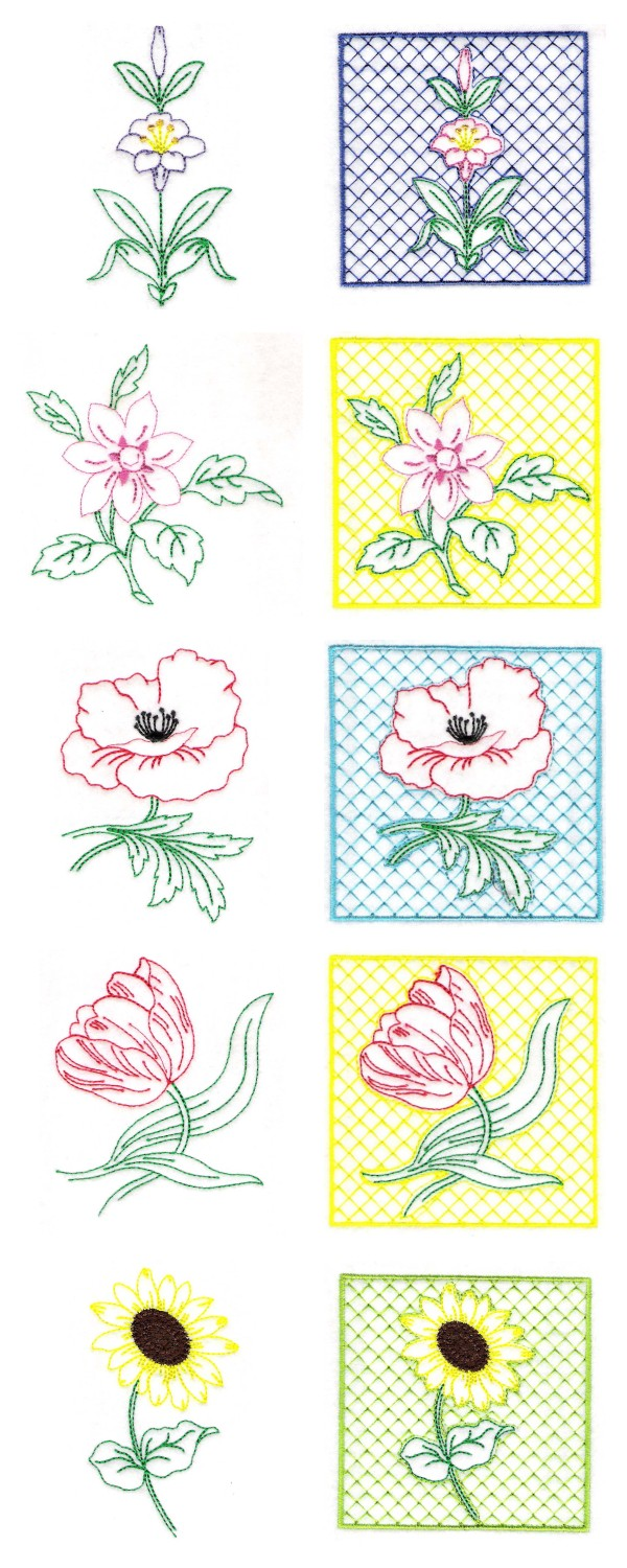 Simple Florals Embroidery Machine Design Details