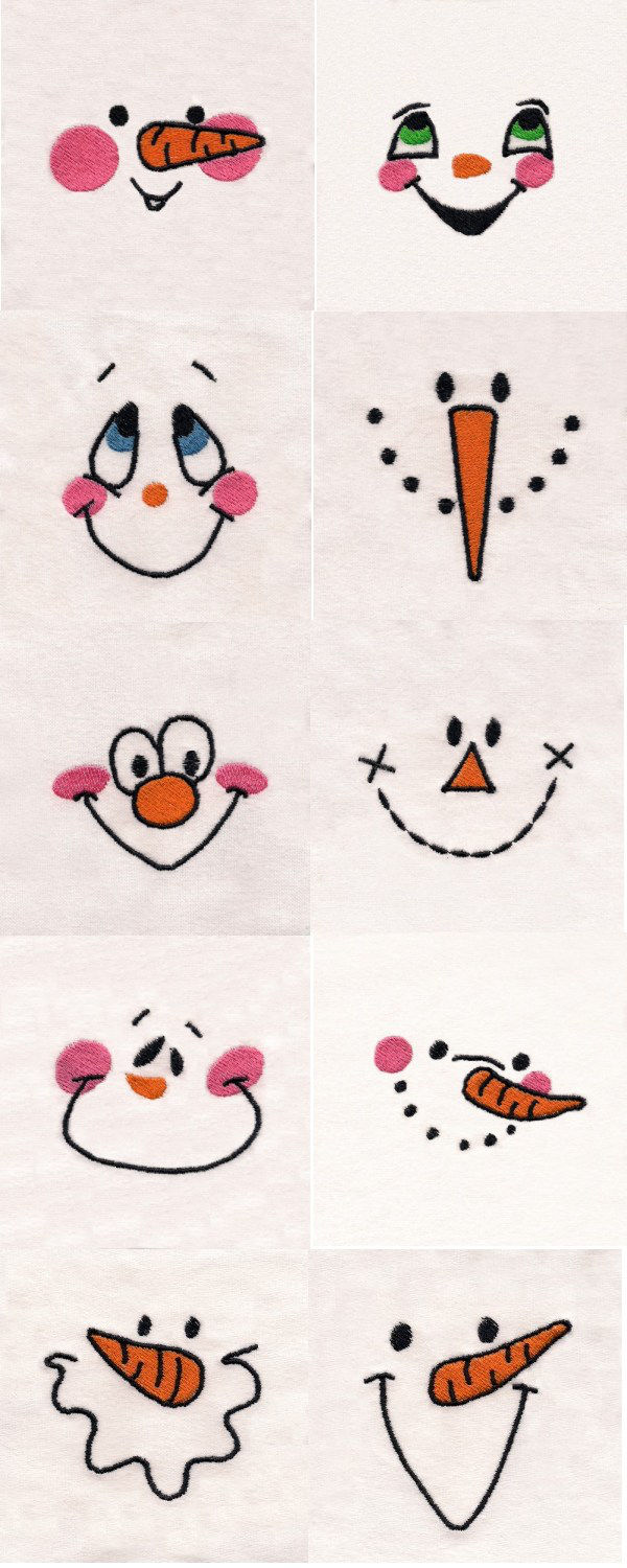 Snowman Faces Embroidery Machine Design Details