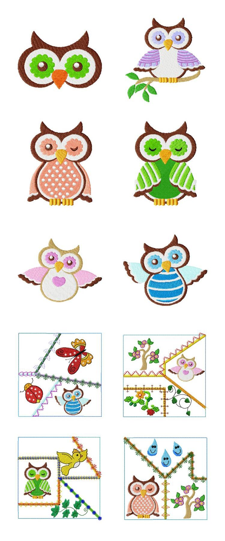 Spring Owls Embroidery Machine Design Details