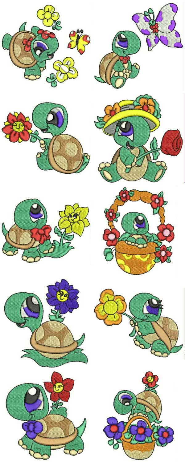 Spring Time Turtles Embroidery Machine Design Details