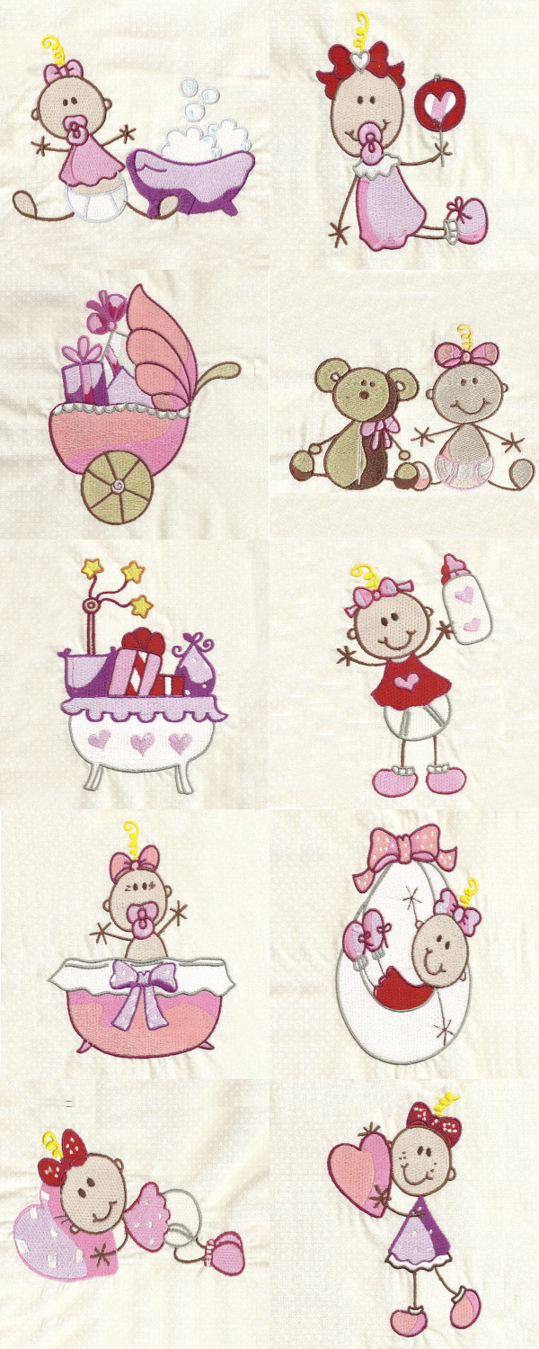 Machine embroidery designs sticky baby girls set