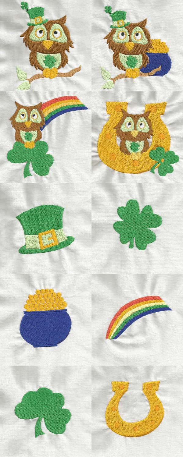 St Patty Owls Embroidery Machine Design Details