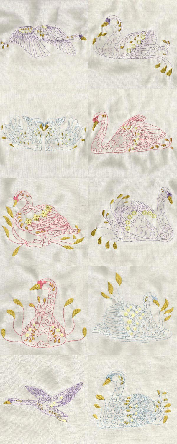 Swans Embroidery Machine Design Details