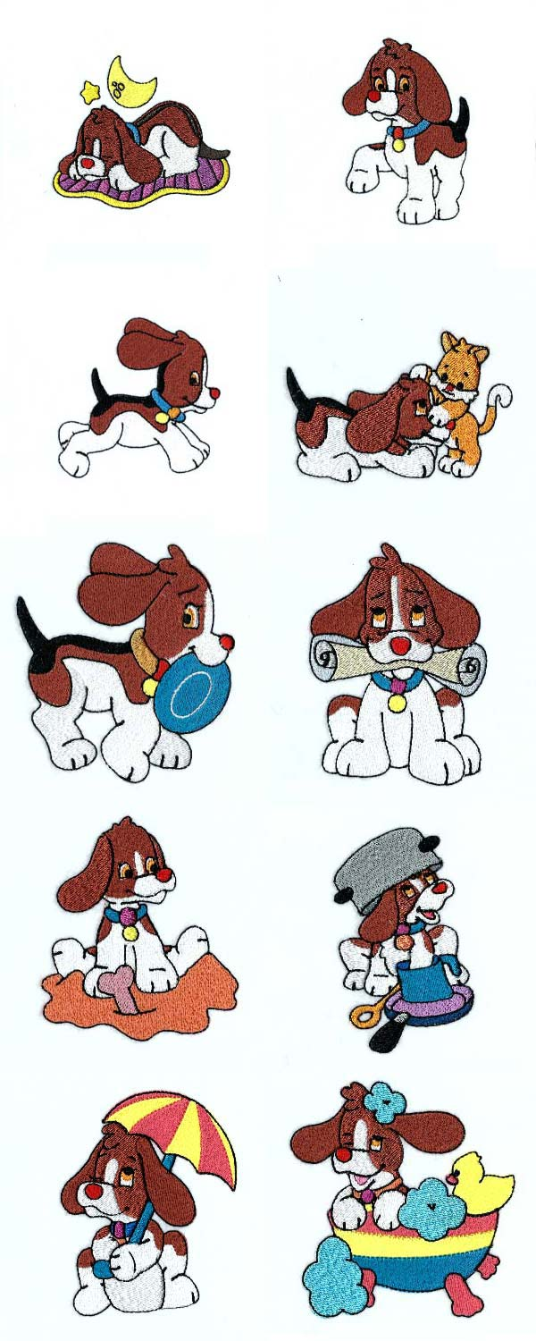 Sweet Little Beagles Embroidery Machine Design Details