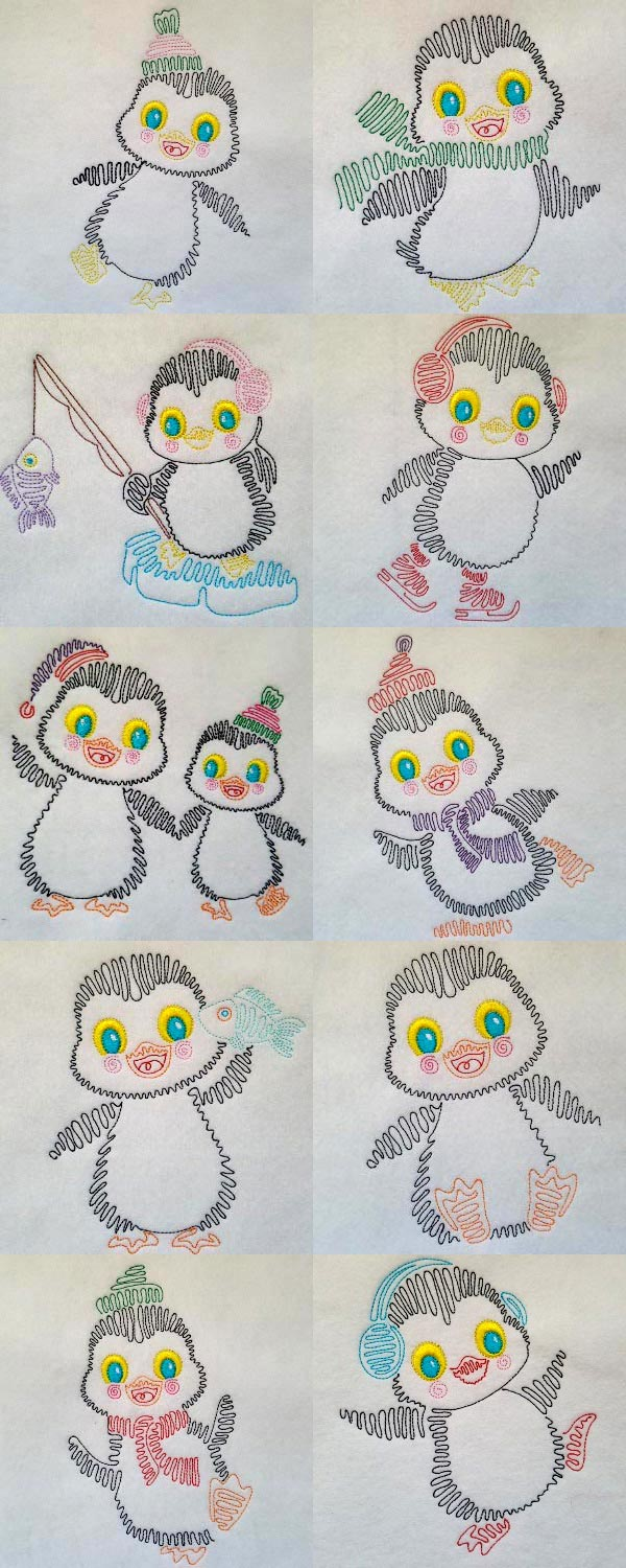 Swing Style Penguins Embroidery Machine Design Details