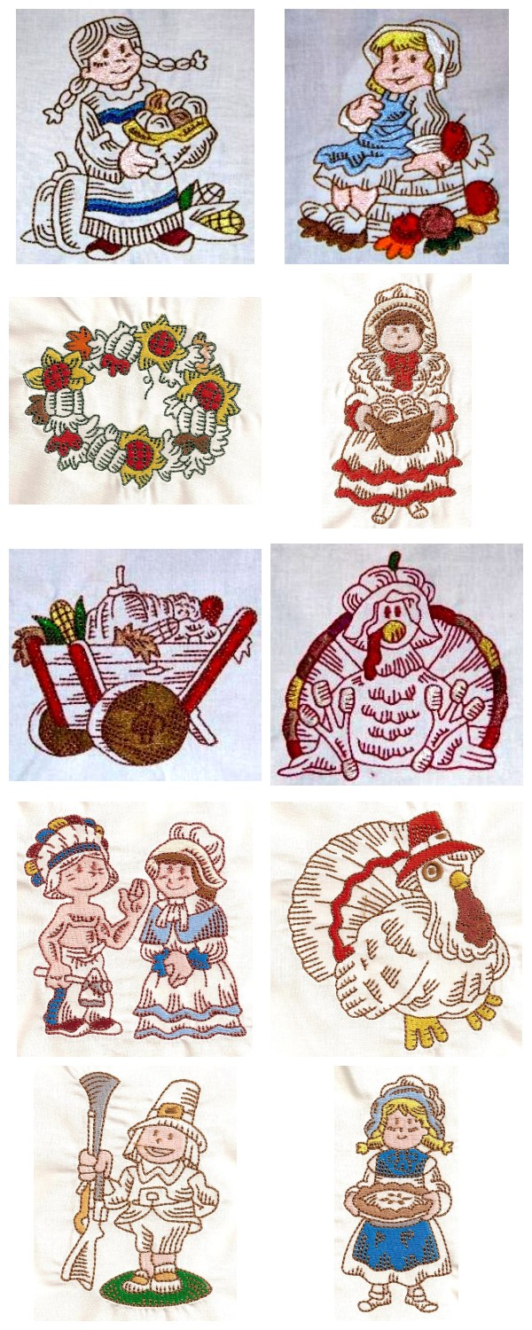Machine Embroidery Designs - Thanksgiving PF Set
