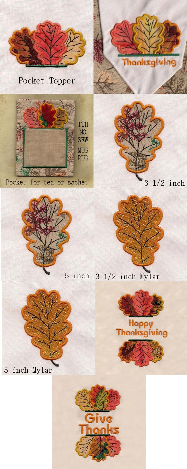 Thanksgiving Table Toppers Embroidery Machine Design Details