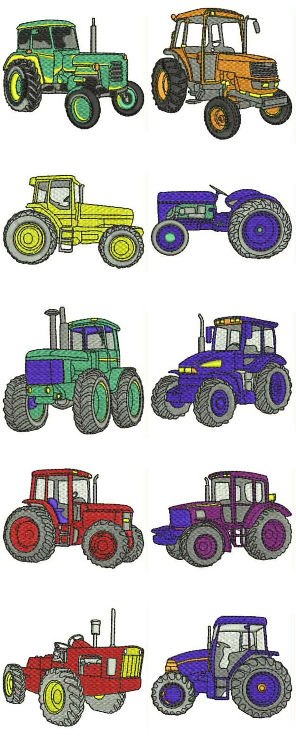 Machine Embroidery Designs Tractors Set