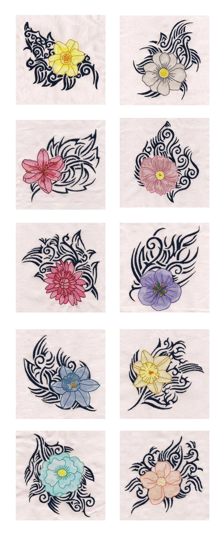 Tribal Flowers Embroidery Machine Design Details