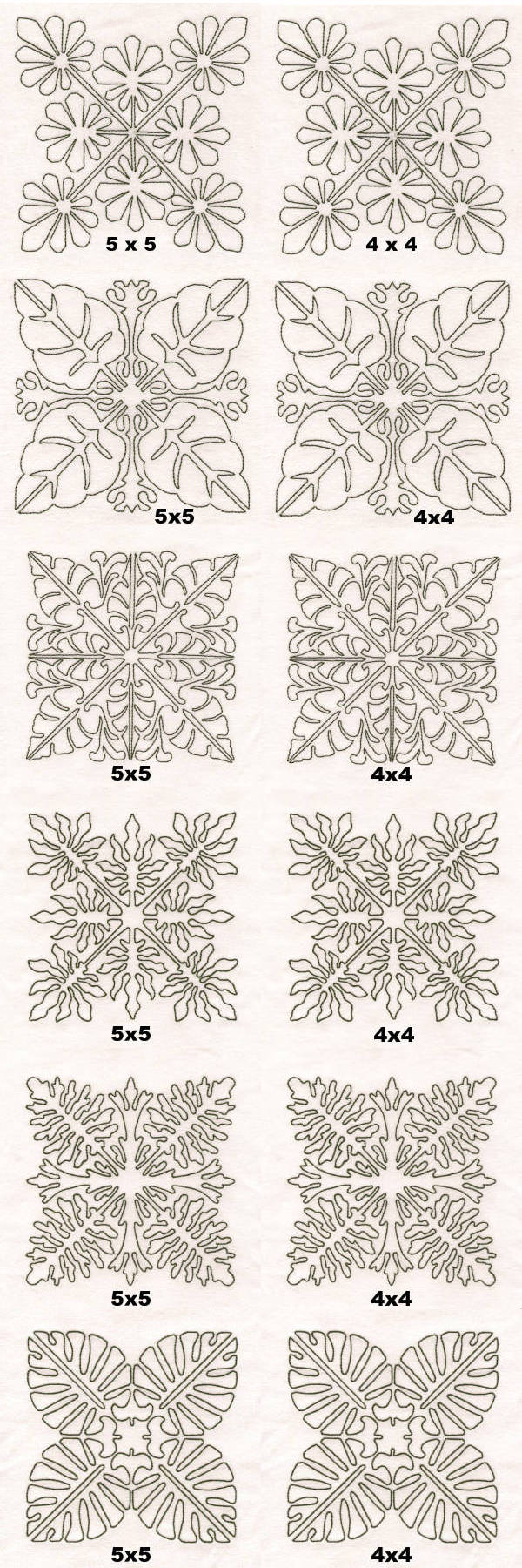 Tropical Foliage Quilt Blocks Embroidery Machine Design Details