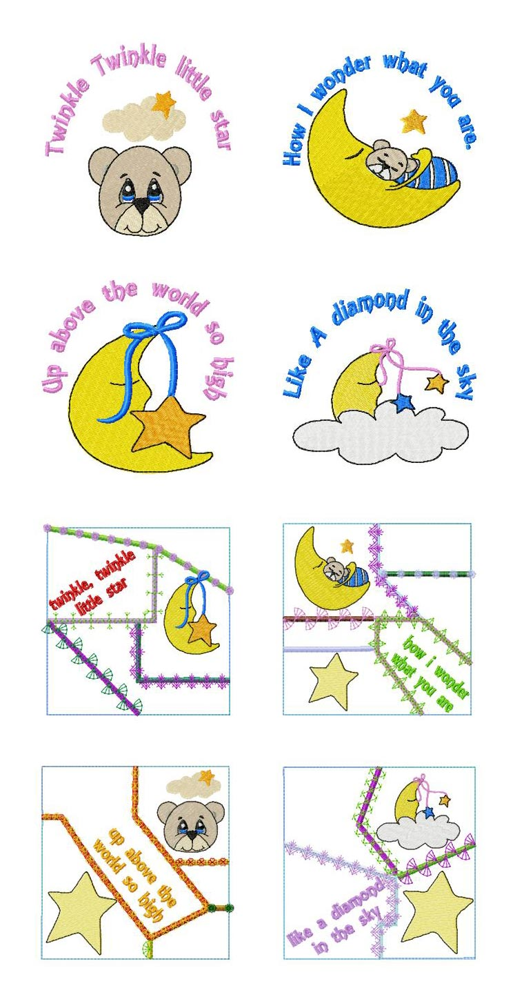 Twinkle Twinkle Little Star Embroidery Machine Design Details
