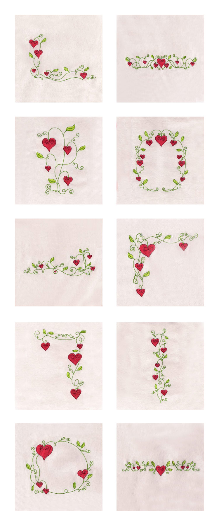 Valentine Flowers Borders Embroidery Machine Design Details