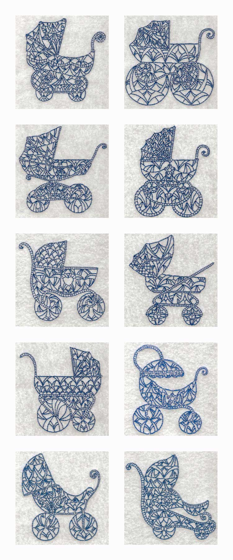 Machine Embroidery Designs Vintage Baby Prams Set