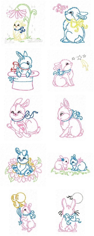Machine Embroidery Designs Vintage Bunnies Set