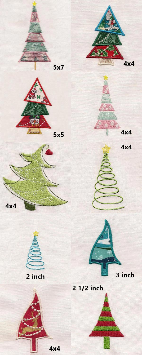 Whimsical Holiday Trees Embroidery Machine Design Details