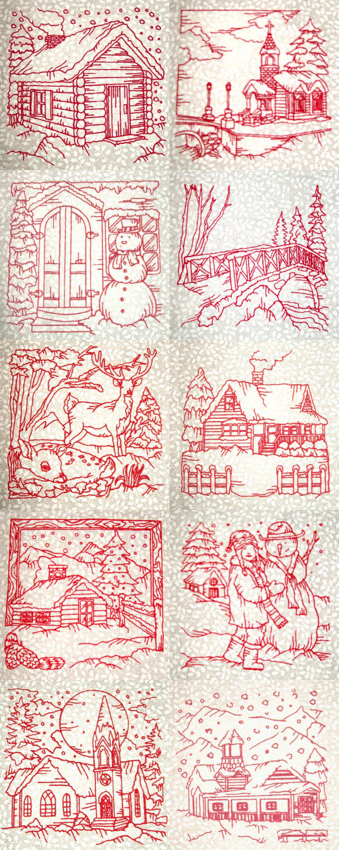 Machine Embroidery Designs Winter Village Scenes Set