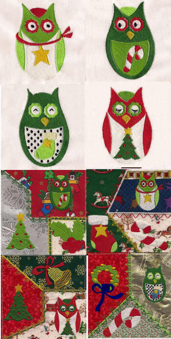 Christmas Hoot Embroidery Machine Design Details