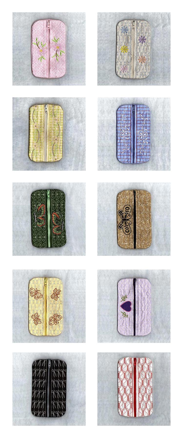 Zippered Tissue Cases Embroidery Machine Design Details
