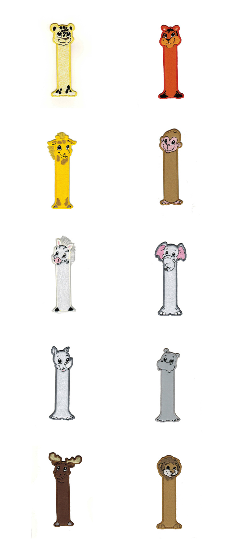 Zoo Friends Book Marks Embroidery Machine Design Details